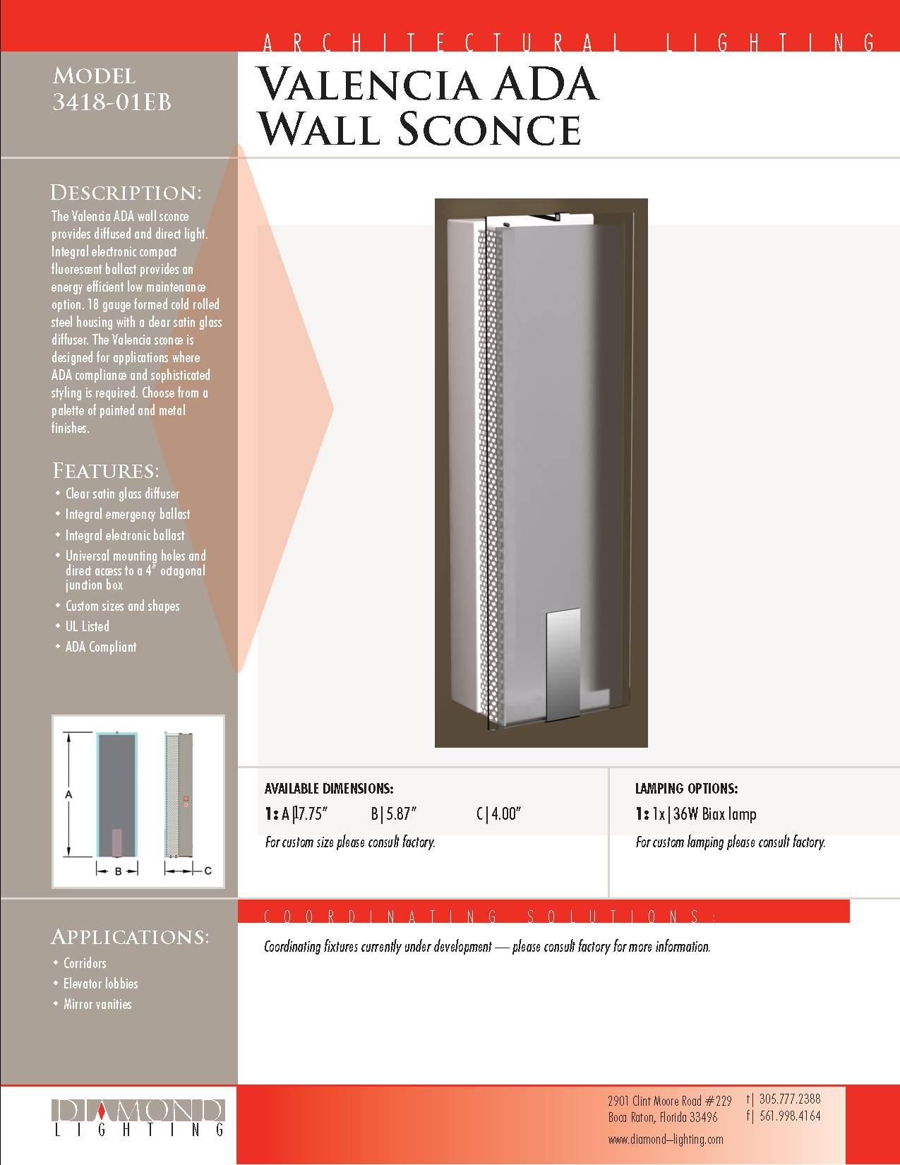 Diamond lighting ada wall sconces valencia ada wall sconce amipublicfo Choice Image
